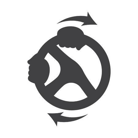 steering wheel black simple icons set for web design Illustration