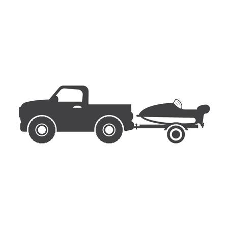 boat motor: car with motor boat black simple icons set for web design Illustration