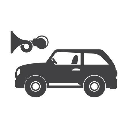 beep: car beep black simple icon on white background for web design