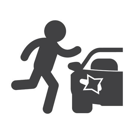 paso de cebra: Paso de peatones negro simple icono en el fondo blanco para el dise�o web Vectores