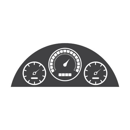 instrument panel: speedometer black simple icons set for web design