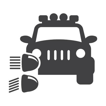headlight: car headlight black simple icon on white background for web design