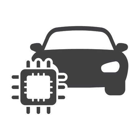 computerized: car cpu black simple icons set for web design