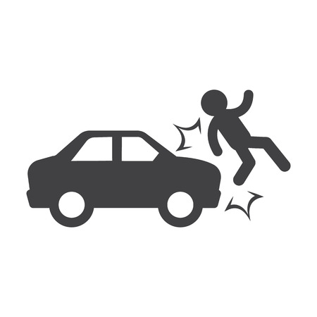 car accident black simple icon on white background for web design