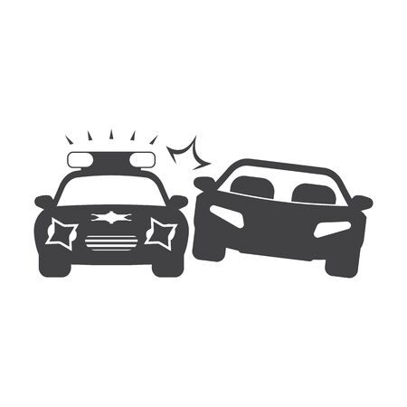 chase: car chase black simple icon on white background for web design