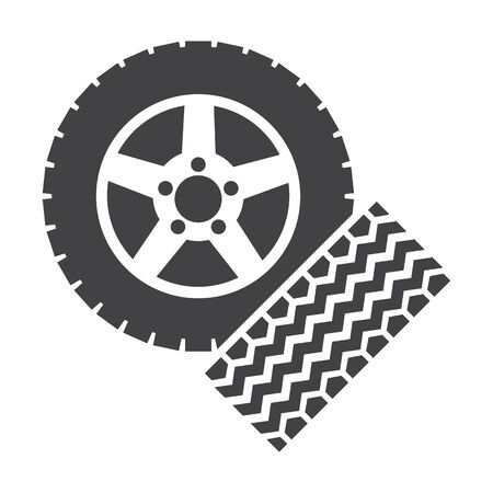 tire imprint: wheel and wheel track black simple icons set for web design