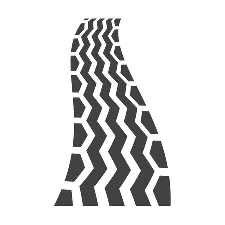 tire imprint: wheel track black simple icons set for web design Illustration