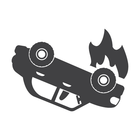 incident: car crash black simple icon on white background for web design