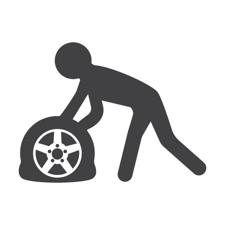 car tire: car punctured tire black simple icons set for web design