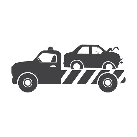 trucks: tow truck black simple icon on white background for web design Illustration