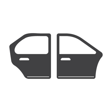 car door black simple icon on white background for web design