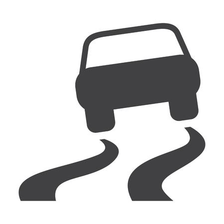 skid: car skid black simple icons set for web design Illustration
