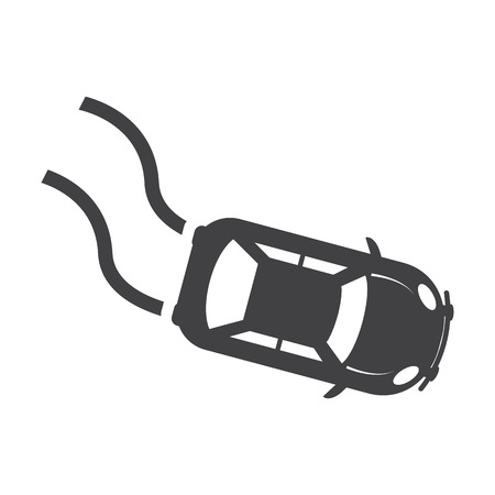 skid: car skid black simple icon on white background for web design