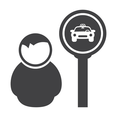 taxi stop black simple icon on white background for web design Ilustracja