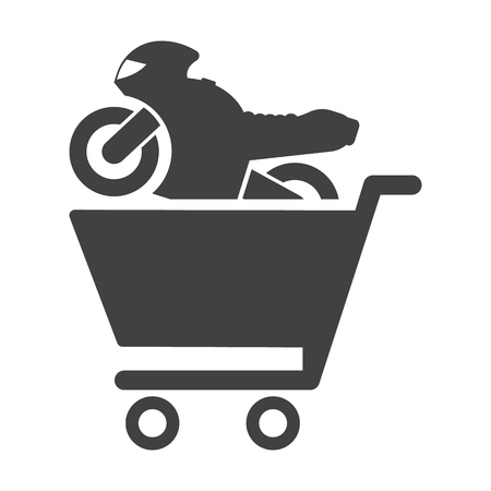 headlights: motorcycle black simple icon on white background for web design Illustration