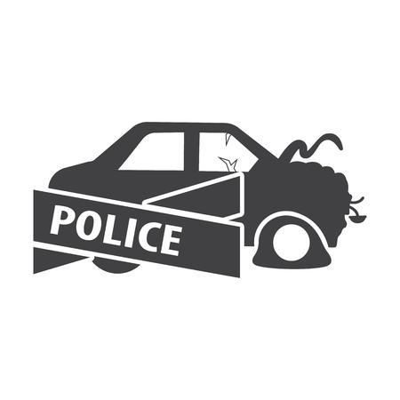 ribon: car crash black simple icon on white background for web design