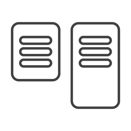 Freno de pedal de control, el gas, la entrada simple icono negro sobre fondo blanco para el diseño web Ilustración de vector
