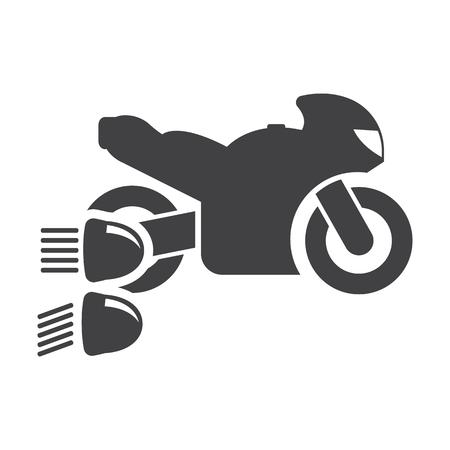 headlights: Motorcycle headlights black simple icons set for web design