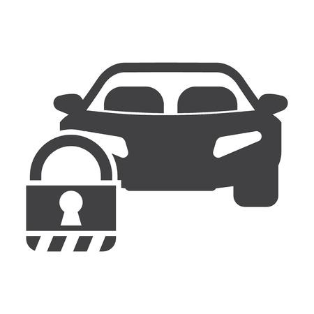 guarded: lock car black simple icons set for web design Illustration