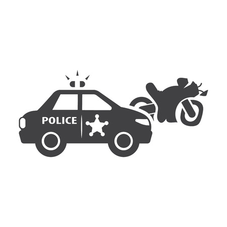 motorcycle officer: Motorcycle crash black simple icons set for web design Illustration