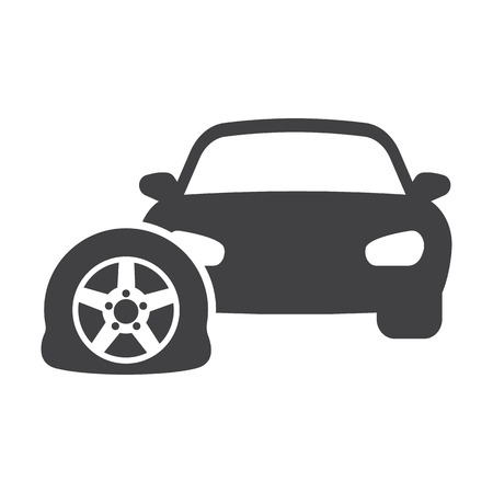 car tire: car punctured tire black simple icon on white background for web design Illustration