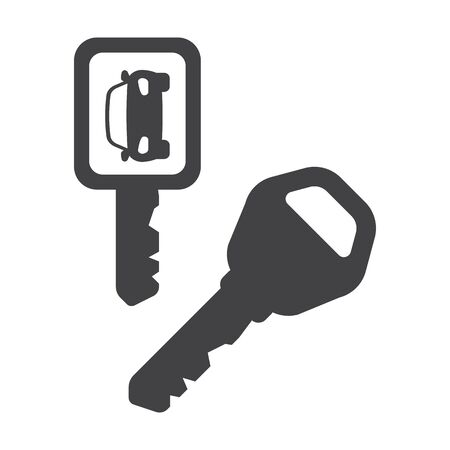 car isolated: car key black simple icons set for web design