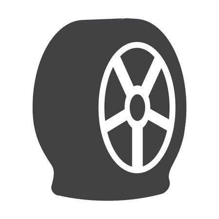 puncture: puncture wheel black simple icons set for web design Illustration