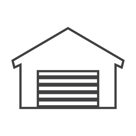 garage door: garage black simple icons set for web design Illustration