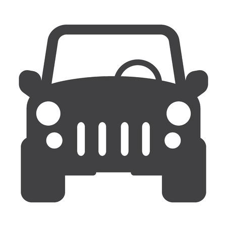 coche negro simple icono en el fondo blanco para el diseño web
