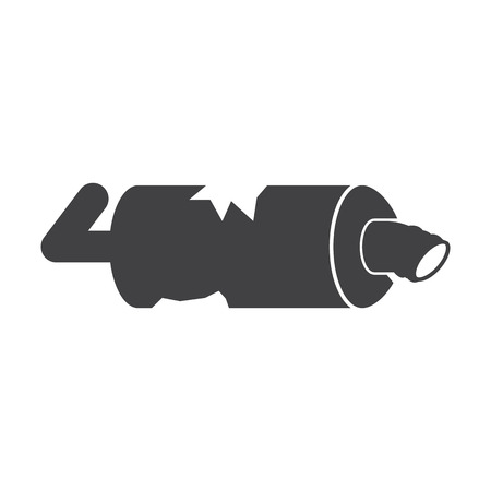 exhaust pipe: Exhaust pipe black simple icon on white background for web design