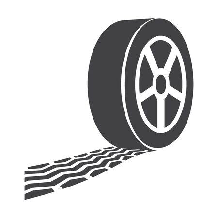 track: wheel track black simple icons set for web design Illustration