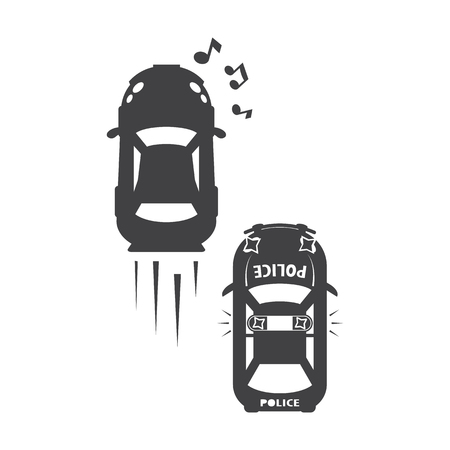 chase: Chase car black simple icons set for web design