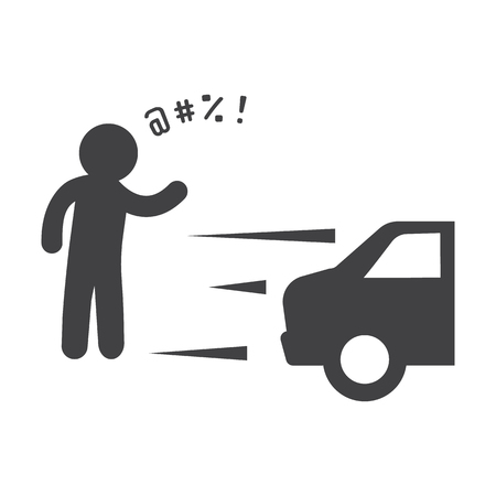 incident: car incident black simple icon on white background for web design Illustration