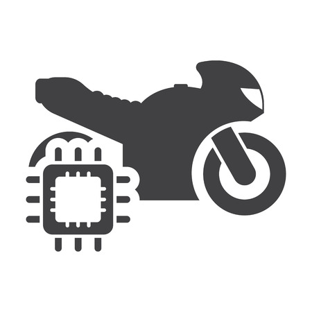 computerized: Motorcycle cpu black simple icons set for web design Illustration
