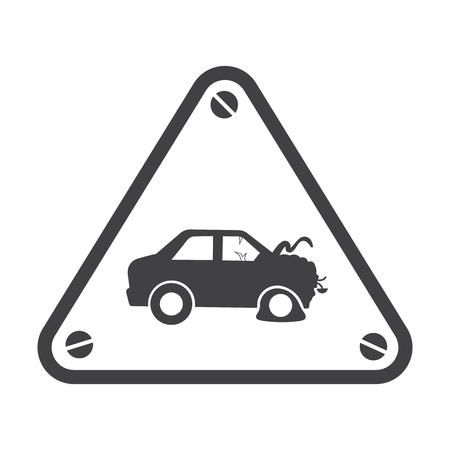 landfill: car crash black simple icon on white background for web design