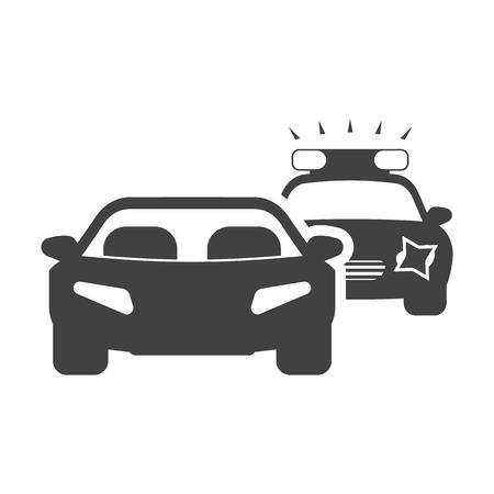 Auto-Verfolgungsjagd schwarz einfache Symbol auf weißem Hintergrund für Web-Design