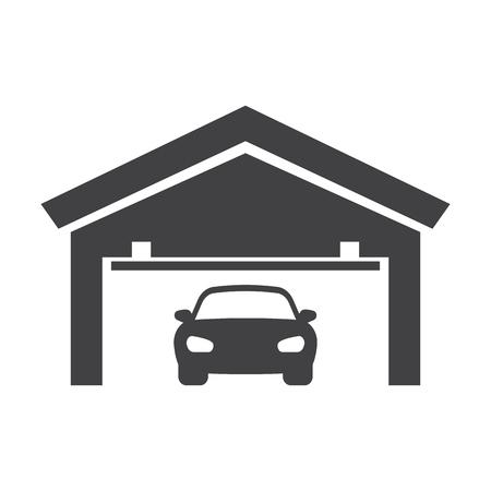 garage black simple icons set for web design Illustration