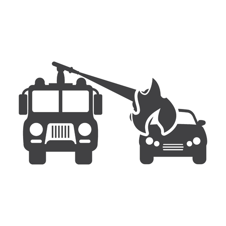 landfill: fire truck black simple icons set for web design