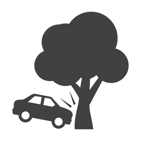 incident: car crash black simple icon on white background for web design
