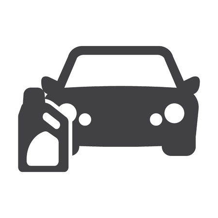 headlights: car oil black simple icon on white background for web design