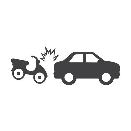 landfill: car crash motorcycle black simple icons set for web design