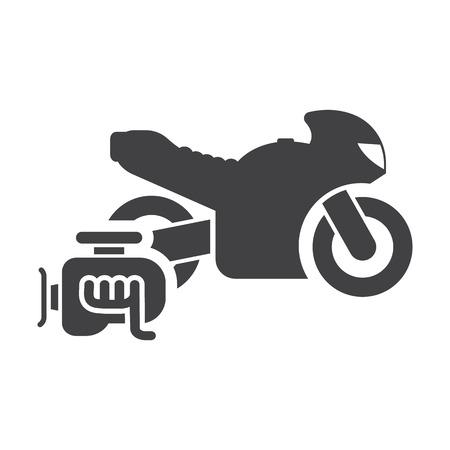 overhaul: Motorcycle engine black simple icons set for web design Illustration