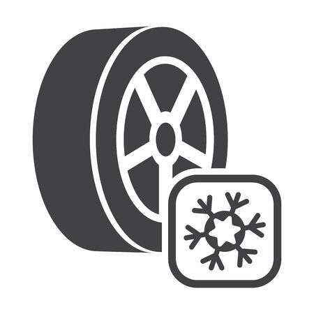 winter car: car winter wheel black simple icons set for web design