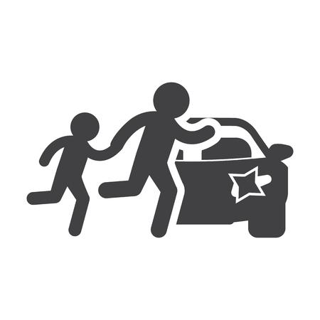 paso peatonal: Paso de peatones negro simple icono en el fondo blanco para el dise�o web Vectores