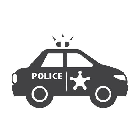 police sign: police car black simple icon on white background for web design