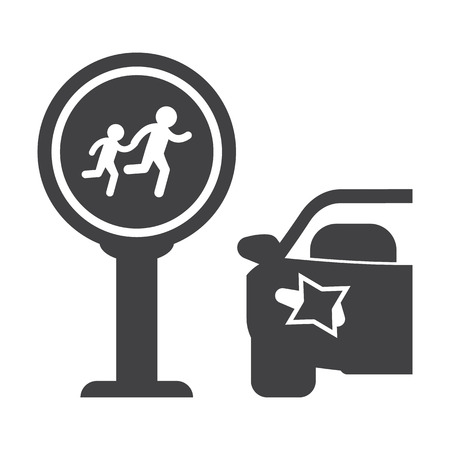 incident: Crosswalk black simple icon on white background for web design