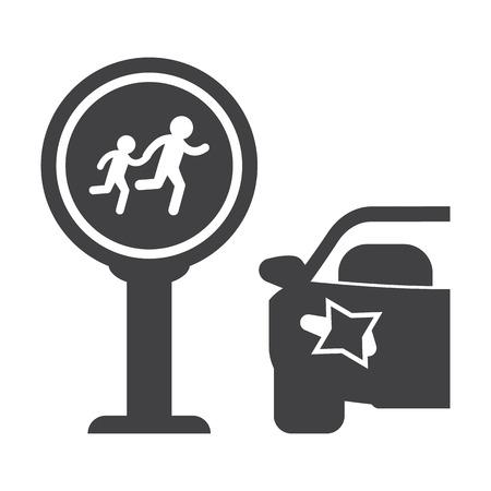 crosswalk: Paso de peatones negro simple icono en el fondo blanco para el dise�o web Vectores