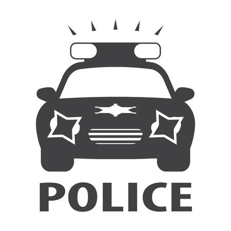design icon: police car black simple icon on white background for web design