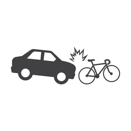 car crash bicycle black simple icons set for web design