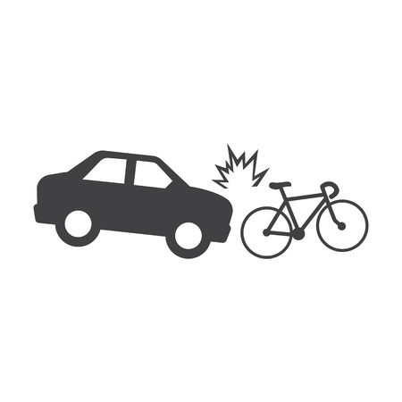 car crash bicycle black simple icons set for web design